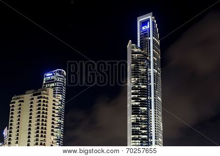 Gold Coast Soul and Hilton buildings by night