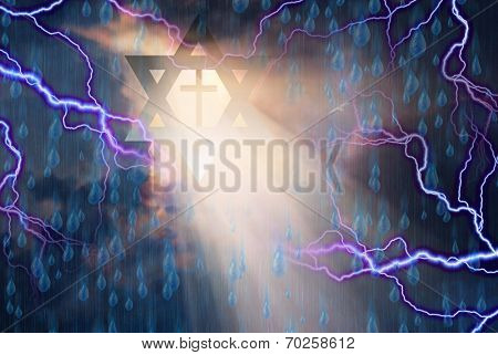 Star of David and Cross in Storm with God Rays