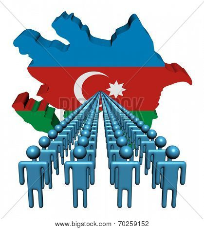 Lines of people with Azerbaijan map flag illustration
