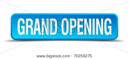 Grand Opening Blue 3D Realistic Square Isolated Button