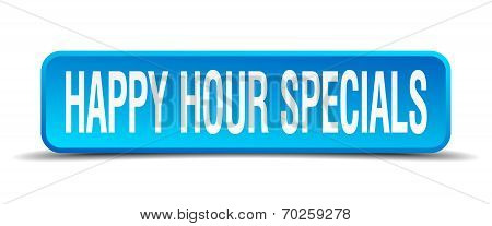 Happy Hour Specials Blue 3D Realistic Square Isolated Button