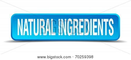 Natural Ingredients Blue 3D Realistic Square Isolated Button