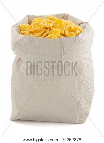 corn flakes in paper bag isolated on white background