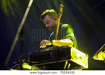 BONTIDA - JUNE 21: Artist Bonobo performs live at the main stage of the Electric Castle Festival at June 21, 2014 in the Banffy castle in Bontida, Romania