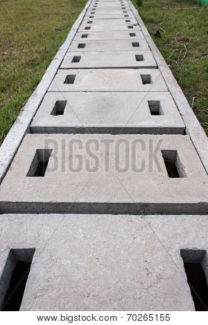 Water Canal Or Conduit In A Park Stock Photo