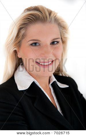 Young beautiful business woman in white shirt