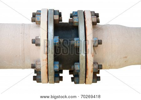 Metal pipe flanges with bolts on an isolated background, Pipe line in oil and gas industry and insta