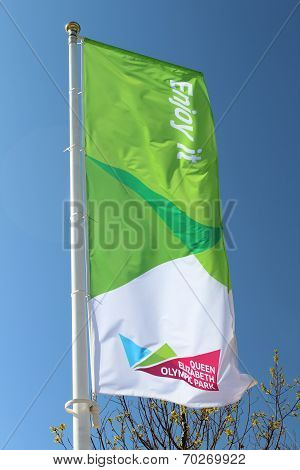London - April 5. Banners Flying At The New Queen Elizabeth Olympic Park On April 5, 2014
