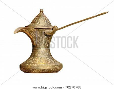 Old Brass Arabian Style Coffee Pot.isolated.