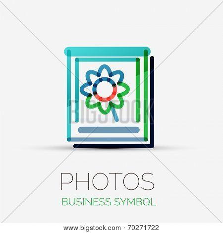 Vector photo gallery icon company logo design, business symbol concept, minimal line design