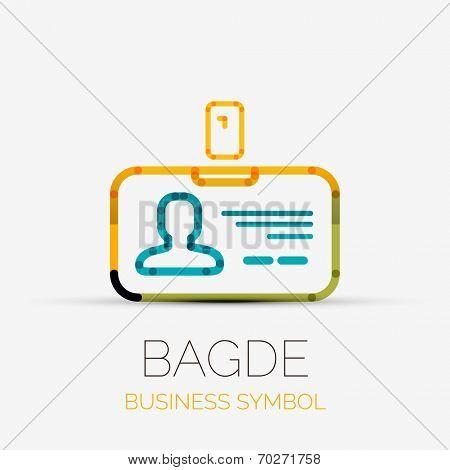Vector name tag - badge company logo design, business symbol concept, minimal line design