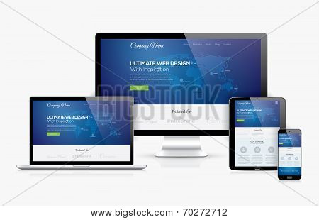 Responsive web design template realistic vector devices concept