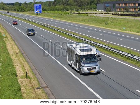 Highway With Camper