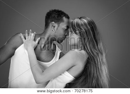 Monochrome portrait of a passionate couple