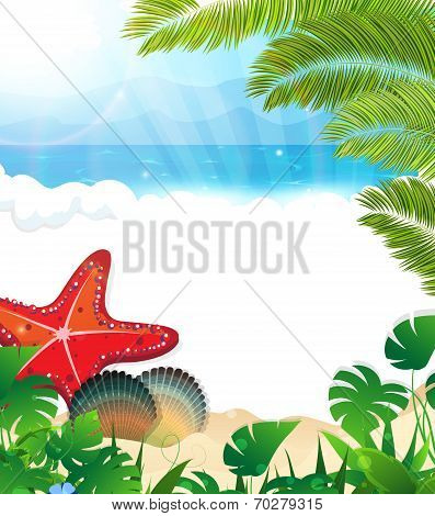 Tropical Beach With Cockleshells And Starfishes