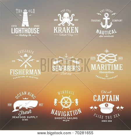 Set of Vintage Nautical Labels or Signs With Retro Typography on Blured Background Anchors Steering