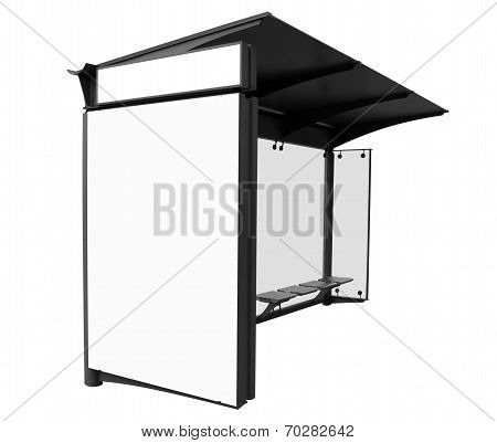 Bus Stop With Blank Banners Isolated