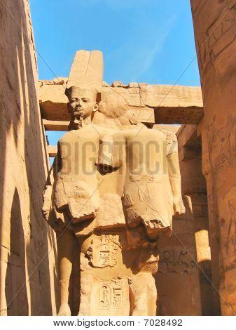 Stone Statues In Karnak Temple