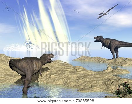 End of dinosaurs due to meteorite impact in Yucatan, Mexico - 3D render
