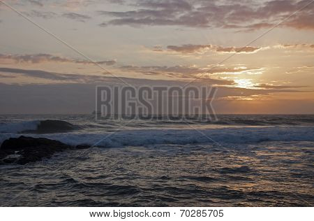 Ship On The Horison At Sunrise, Durban South Africa