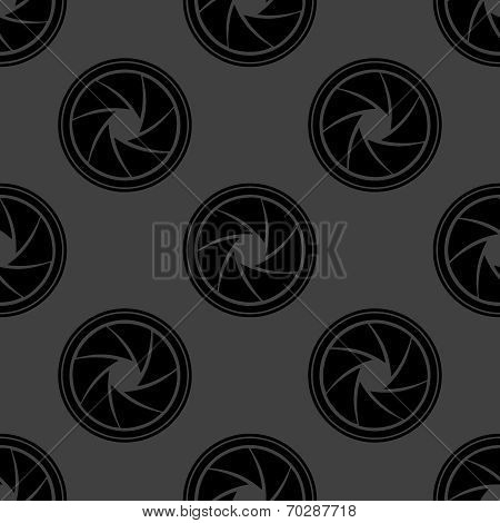 Photo camera diaphragm web icon. flat design. Seamless gray pattern.