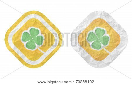 Two Frames With Texture Crumpled Paper And Cloverleaf