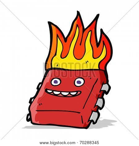 cartoon red hot computer chip