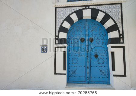 Typical local door of traditional house; Tunis; Tunisia