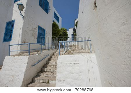 Traditional houses and staircases; Tunis; Tunisia