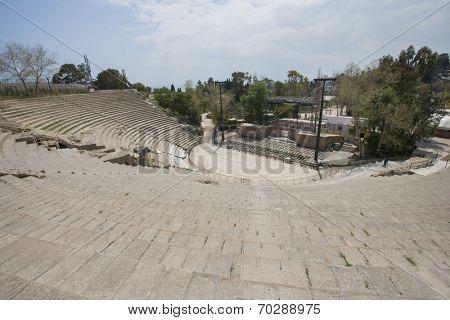 High angle view of roman amphitheater; Tunis; Tunisia