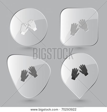 Gauntlets. Glass buttons. Raster illustration.