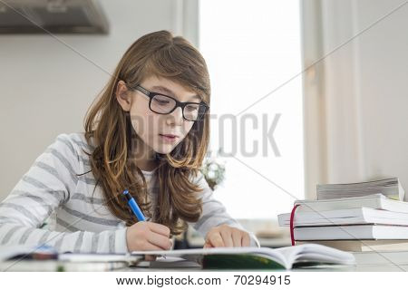 Teenage girl doing homework at table