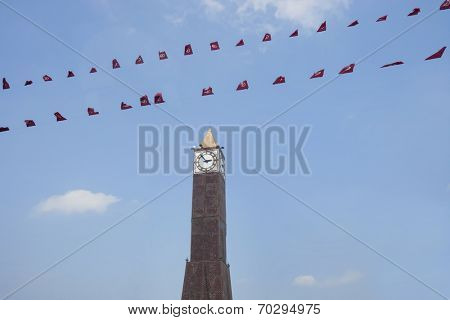 Low angle view of place du 7 November 1987 clock tower; Avenue Habib Bourguiba; Tunis; Tunisia