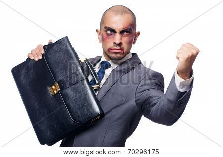 Badly beaten businessman isolated on white
