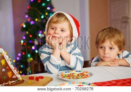 Two Little Siblings Boys Happy Aboutn Selfmade Gingerbread Cookie House