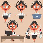 picture of secretary  - Set of 5 secretary illustrations - JPG