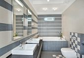 foto of shower-cubicle  - Modern bathroom in blue and gray tones with mosaic on wide angle view - JPG