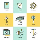 stock photo of creativity  - Flat line icons set of creative thinking process learning and study activities explore and discovery new things planning and creating innovation projects - JPG