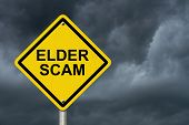 foto of hustle  - Elder Scam Warning Sign Yellow warning sign with words Elder Scam with a stormy sky background - JPG