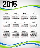 picture of august calendar  - Calendar 2015 with green and blue decorations - JPG