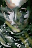 pic of khakis  - Beautiful young fashion woman with military style clothing and face paint make - JPG