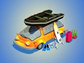 pic of blue things  - Car with things for tourism on a blue background - JPG
