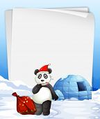foto of igloo  - Illustration of a banner with panda and igloo - JPG