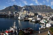 Cape Town Harbor And Table Mountain poster