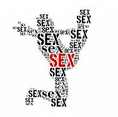 stock photo of kamasutra  - Sex word cloud isolated on white background - JPG