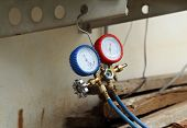 stock photo of manometer  - manometers on equipment for filling air conditioners