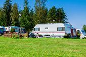 image of trailer park  - Modern luxury mobile homes in a caravan park - JPG