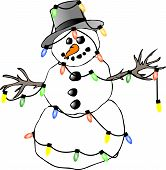 picture of christmas lights  - This illustration depicts a snowman wrapped with Christmas lights - JPG