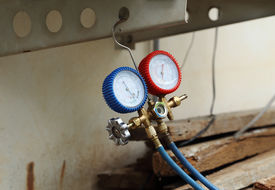 stock photo of manometer  - manometers on equipment for filling air conditioners  - JPG