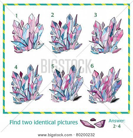 Visual puzzle -  Find two identical images of crystal